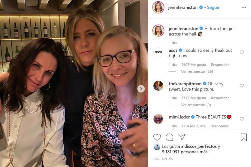 Jennifer Aniston publicó otra reunión de Friends