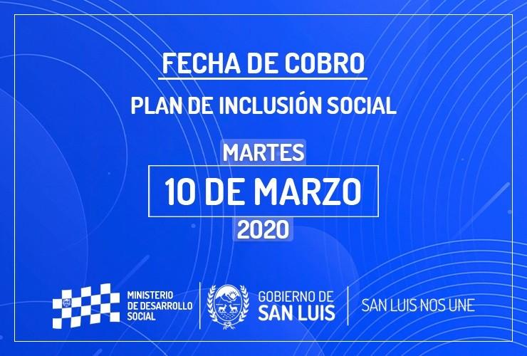 El 10 de marzo cobran los beneficiarios del Plan de Inclusión Social
