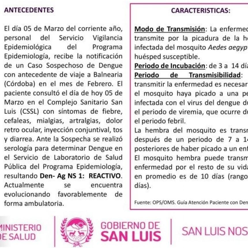 Detectan un nuevo caso de dengue importado en la ciudad de San Luis