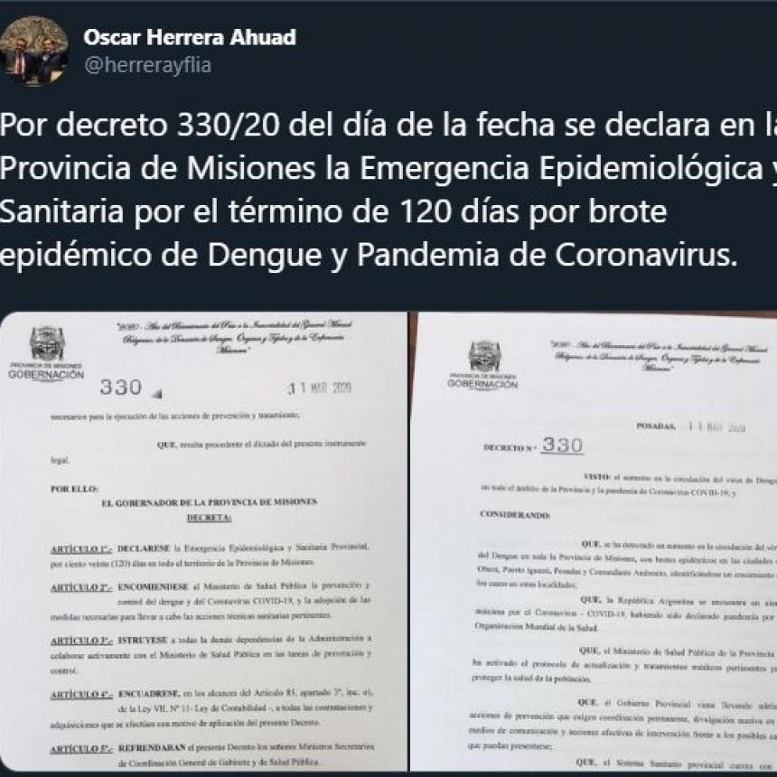 Este es el decreto con el que se declaró la emergencia epidemiológica y sanitaria en Misiones por 120 días