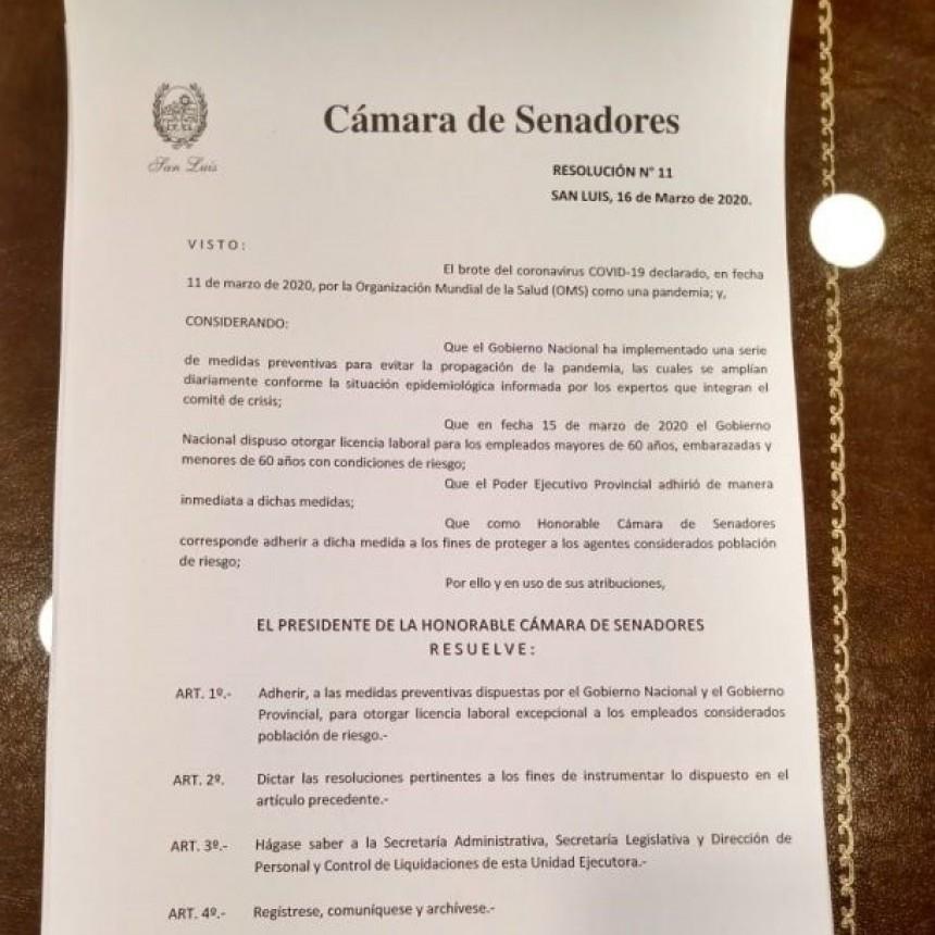 La Cámara de Senadores adhirió a las medidas de prevención de la Nación y la Provincia