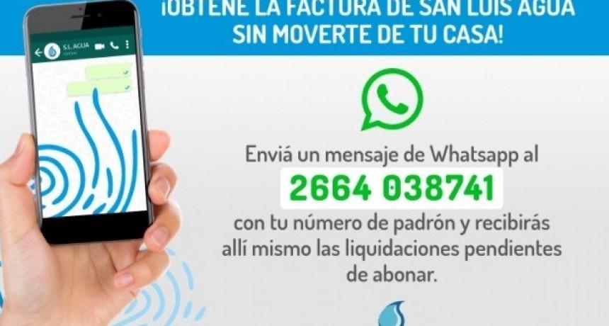 Obtené tu factura de San Luis Agua por WhatsApp