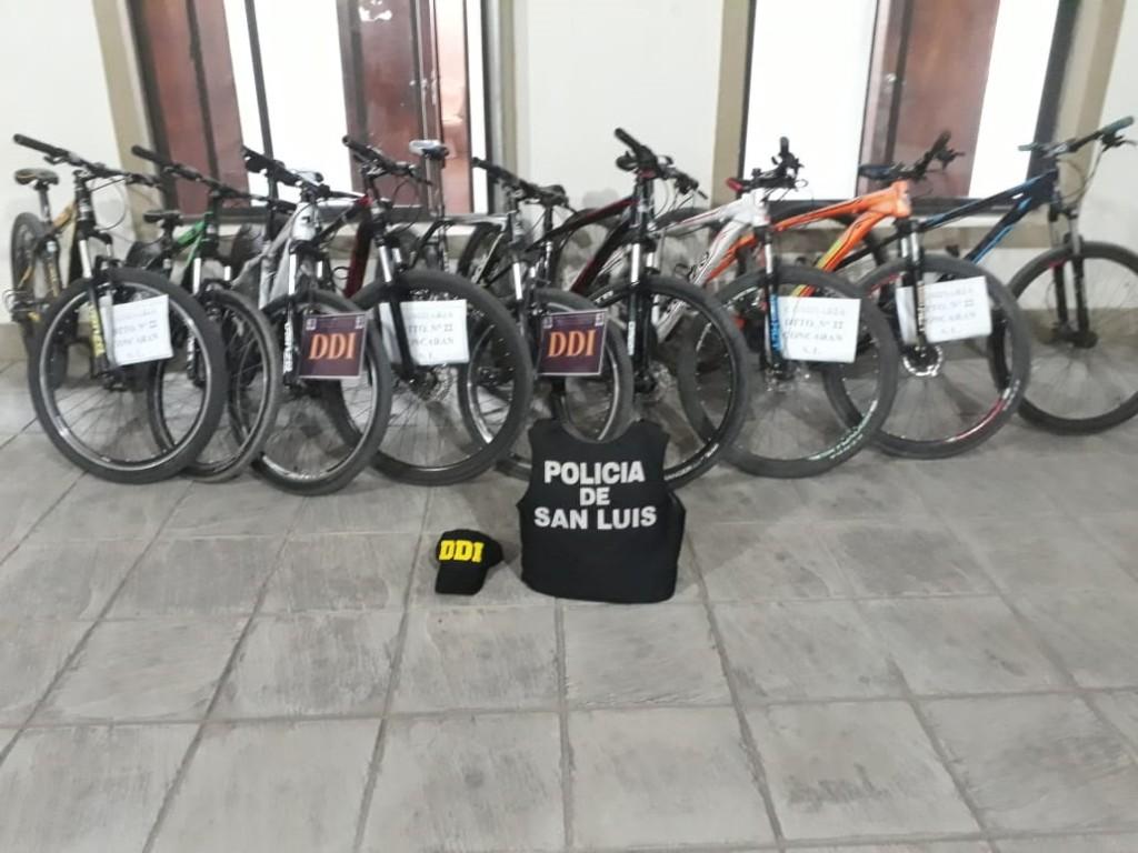 Concarán: la policia secuestro 9 bicicletas y otros elementos de procedencia dudosa