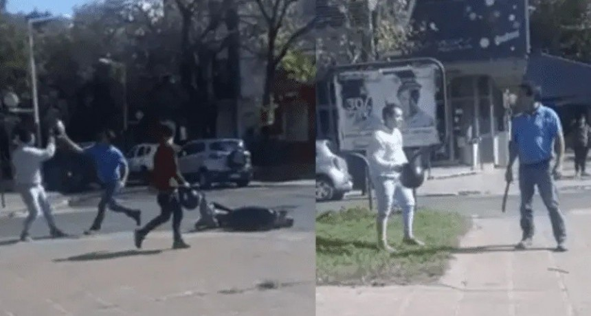 Tremendo video: discutió con motociclista y lo hirió a machetazos