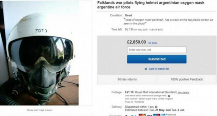 Subastaron en Londres el casco de un ex combatiente de Malvinas
