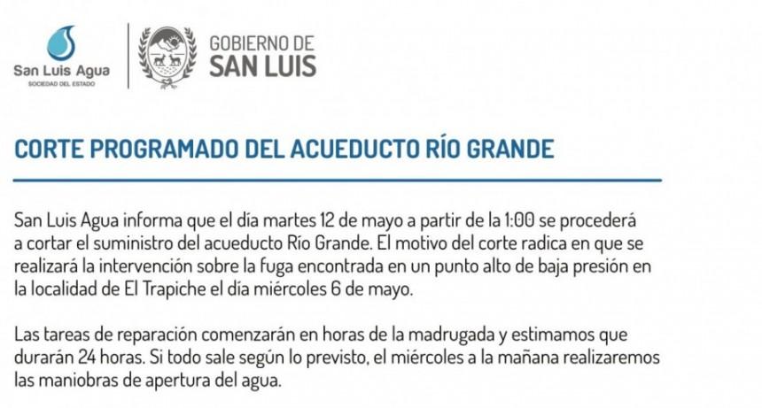Corte programado de 24 horas en el acueducto Río Grande