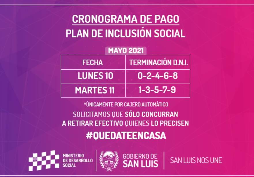 La próxima semana cobran los beneficiarios del Plan de Inclusión Social