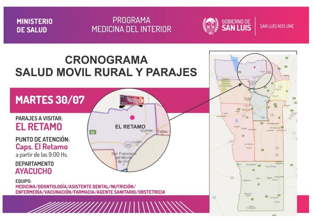 El Gobierno provincial llegará a tres localidades y parajes con servicios médicos