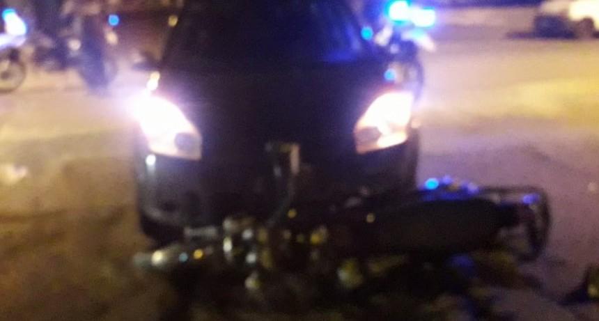 San Luis: un motociclista resultó herido luego de chocar con un auto