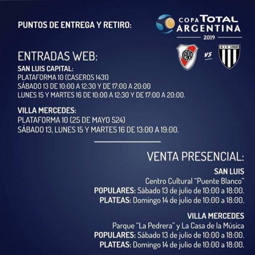 El fin de semana comienza la venta presencial de entradas para el partido de River y Gimnasia de Mendoza