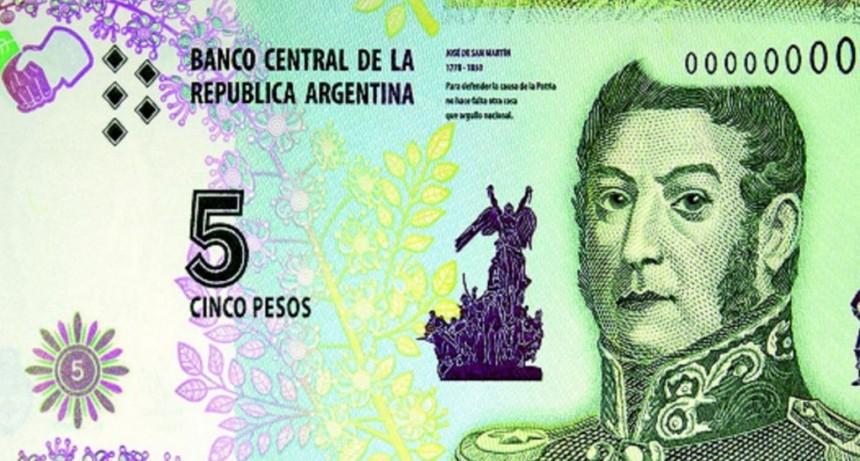 El billete de 5 pesos dejará de circular a partir de febrero de 2020