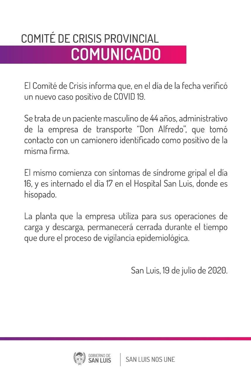 Nuevo caso de coronavirus en San Luis