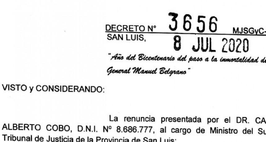 El gobernador aceptó las renuncias de Corvalán y Cobo al Superior Tribunal de Justicia
