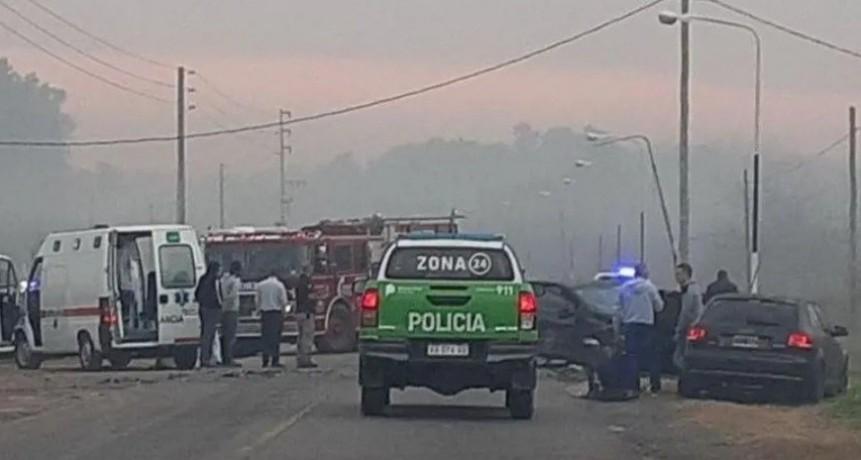 Choque múltiple en Ezeiza: uno de los autos iba en contramano
