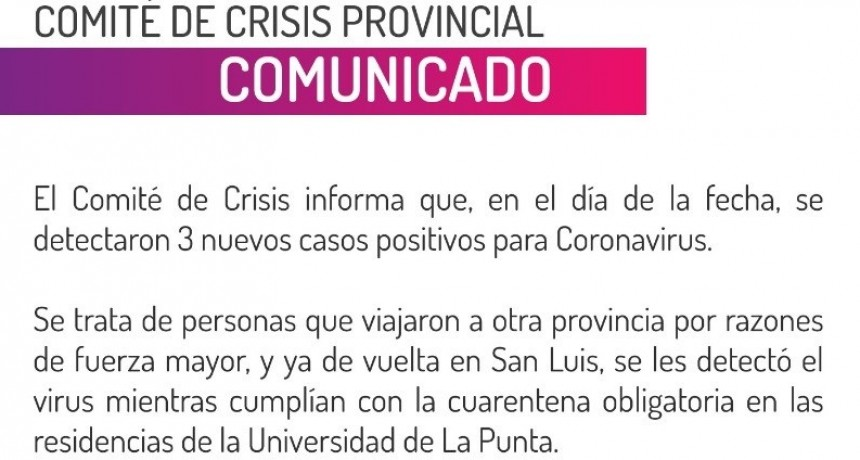 Detectaron tres nuevos casos de coronavirus en San Luis