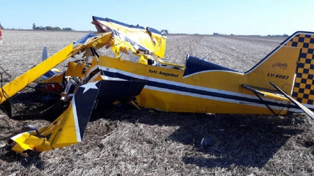 Así quedó el avión del piloto Tati Angelini
