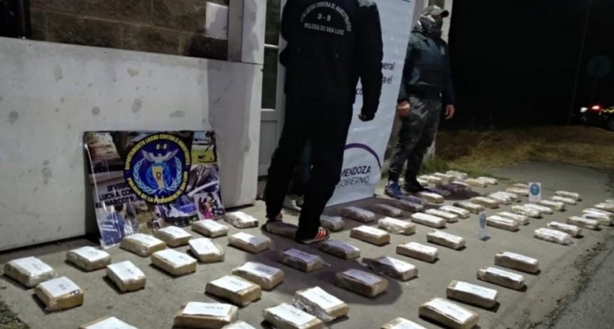 Vizcacheras: detuvieron a una pareja mendocina que querían entrar a la provincia con 67 kilos de marihuana