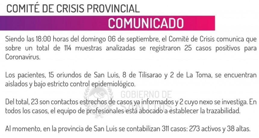 Este domingo se registraron 25 casos positivos para coronavirus