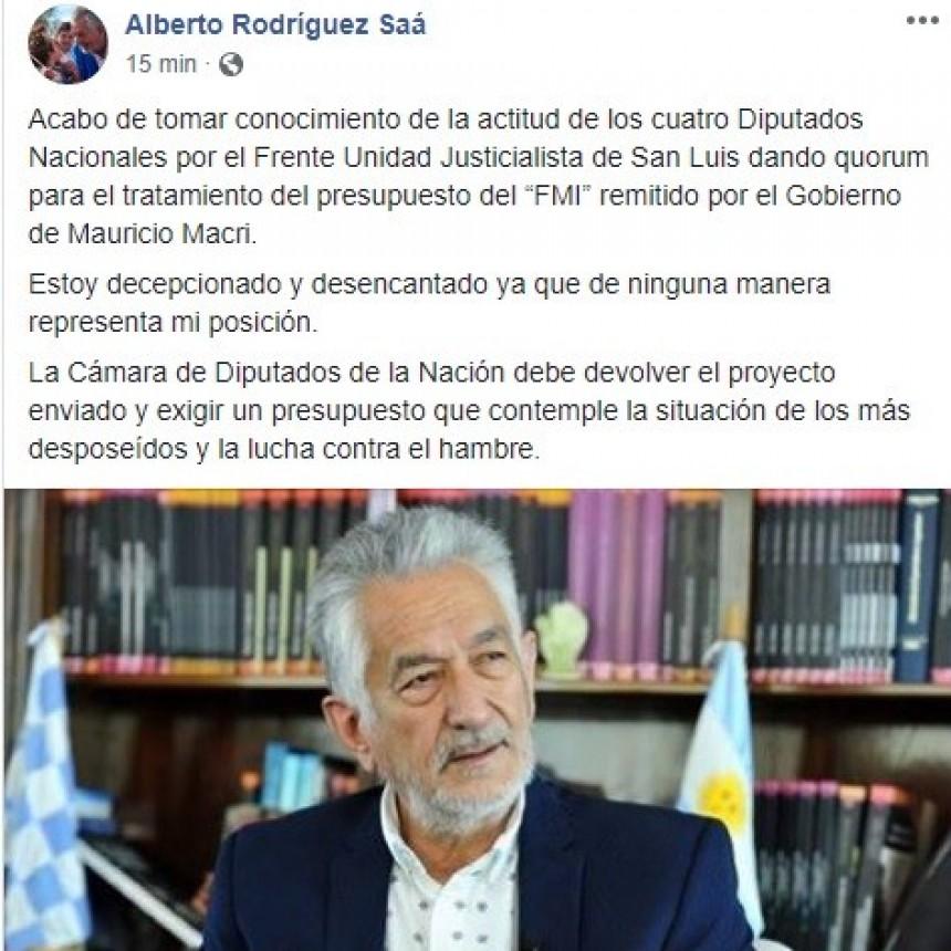 Alberto Rodríguez Saá mostró su descontento por el quórum brindado por los diputados nacionales de San Luis