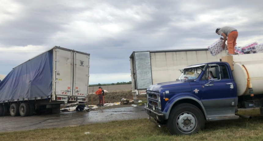 Fraga: chocaron dos camiones en la Autopista de las Serranías Puntanas
