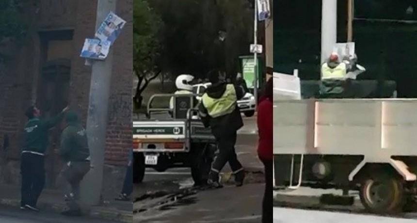 Empleados de la municipalidad quitaron carteles de Hissa y Tamayo