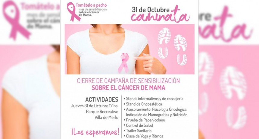 Realizan el cierre de la Campaña de Sensibilización sobre el Cáncer de Mama en Merlo