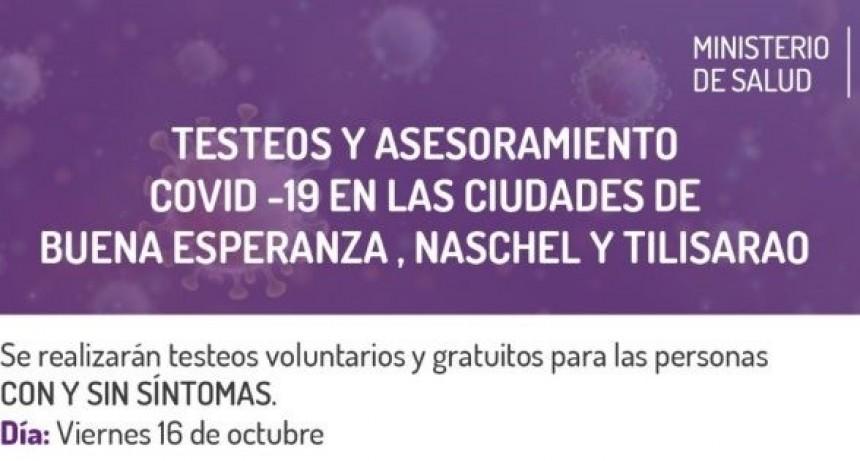 Vigilancia epidemiológica: hoy se realizan testeos masivos en Villa Mercedes, Naschel, Tilisarao y Buena Esperanza