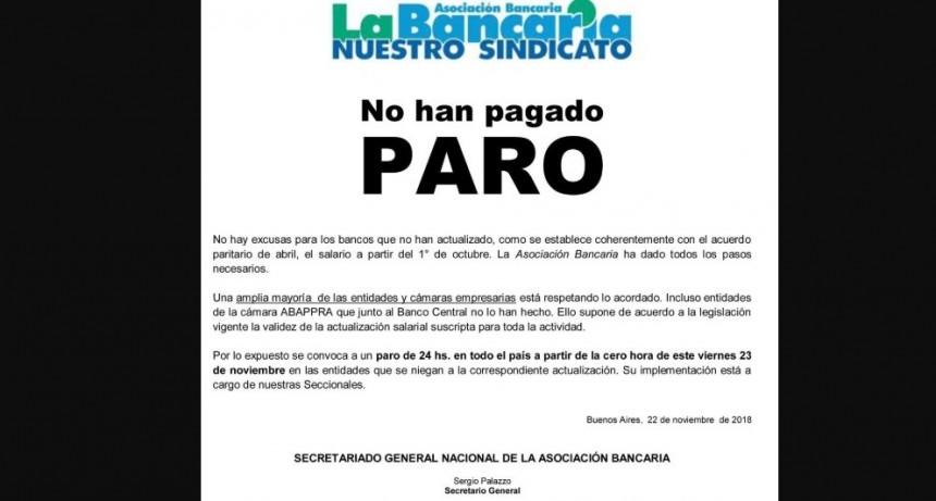 Finalmente, mañana no habrá atención en el Banco Nación por un paro