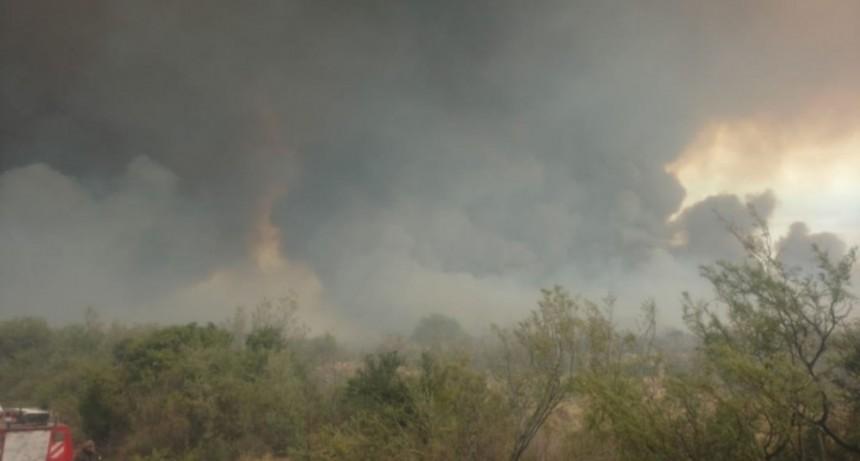 Bomberos combaten un incendio por ruta 3, camino a Beazley