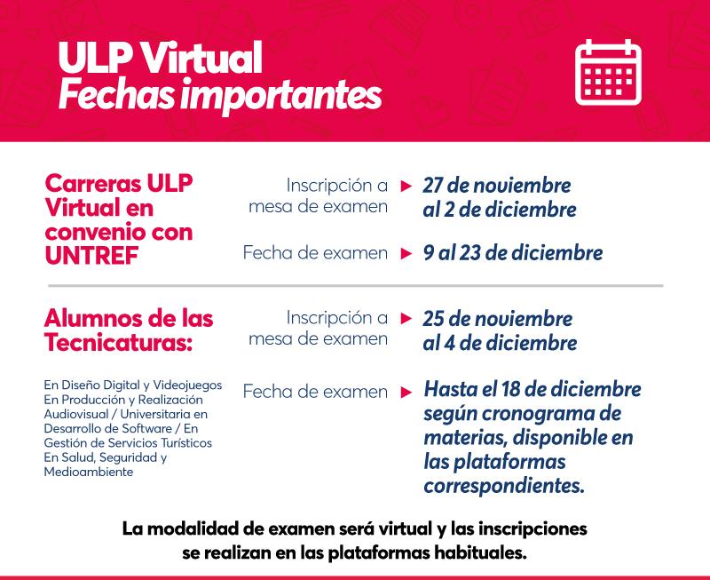 ULP Virtual: abren las inscripciones a mesas de exámenes