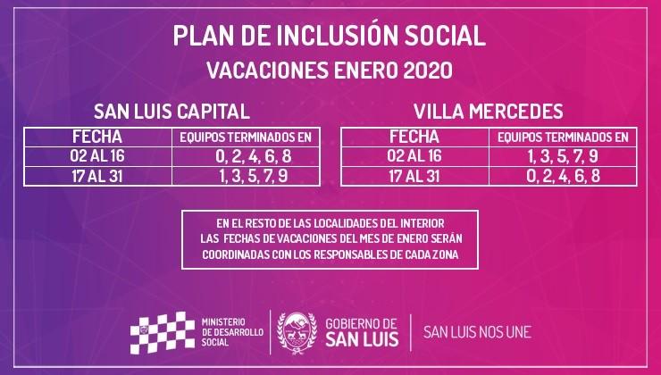 Los beneficiarios del Plan de Inclusión Social tendrán sus vacaciones en enero